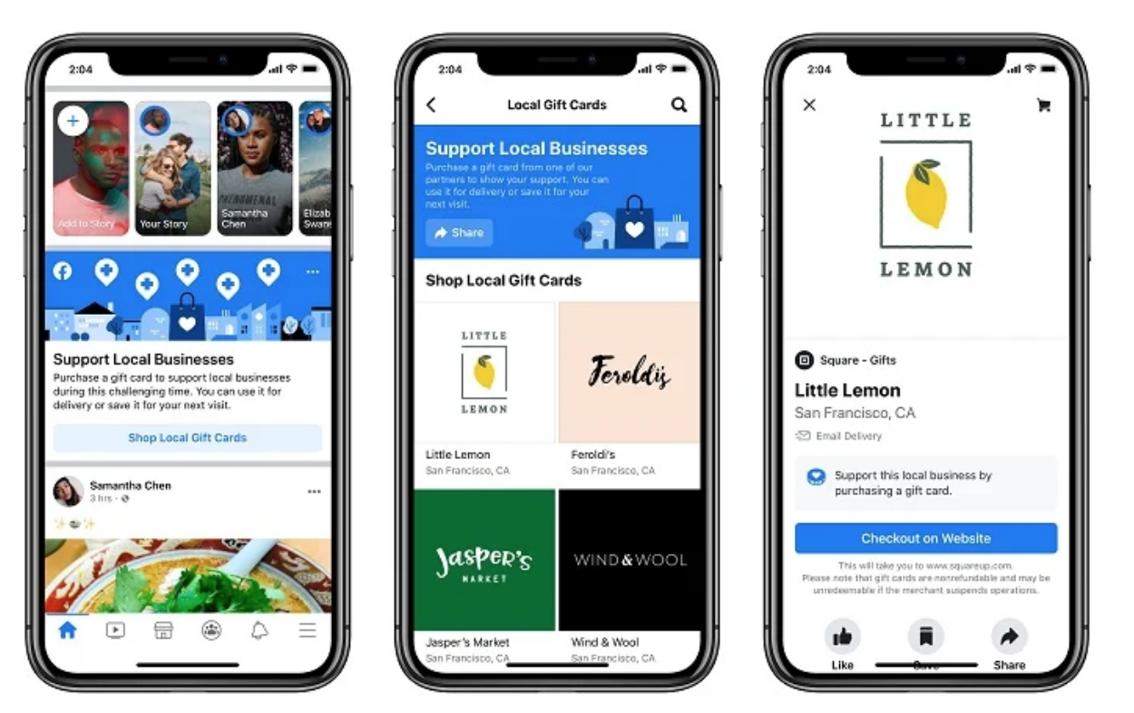 Facebook Adds Gift Card Discovery Tool For Businesses Impacted by COVID-19